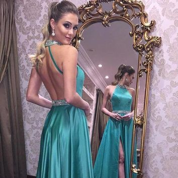 2018 Evening Dress Sexy Prom Dresses Green Backless Prom Gown Long Party Dress F1582
