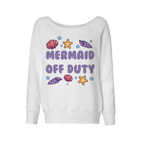 Mermaid Off Duty Seashell Wideneck Sweatshirt