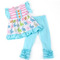 Easter Blue and Pink Bunny Top with Leggings
