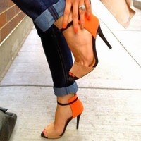 Women Sandals Ankle Strappy Peep Toe High Heels Summer Formal Club Sexy Stiletto