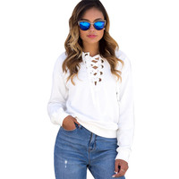 Vintage Casual Fashion Pullovers Women Sweatshirt Long Sleeve Lacing Up Bandage Loose White Gray Jumpers Women Tshirt