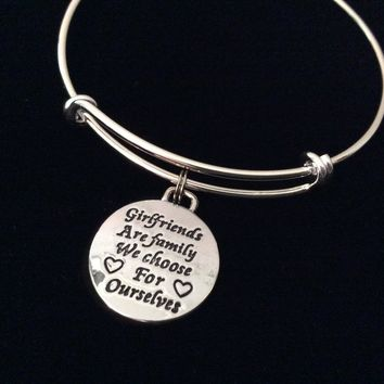 Girlfriends are family we Choose Ourselves Bracelet Adjustable Expandable Silver Plated Bangle Charm Trendy