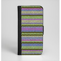 The Colorful Knit Pattern Ink-Fuzed Leather Folding Wallet Case for the iPhone 6/6s, 6/6s Plus, 5/5s and 5c