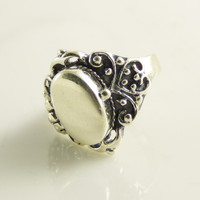 Poison Ring Sterling Silver Victorian Revival Locket Ring