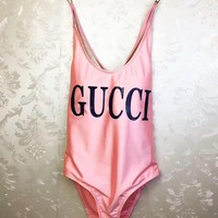 Gucci Logo Pink Swimsuit