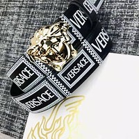 VERSACE Hot Sale Women Men Personality Smooth Buckle Leather Belt