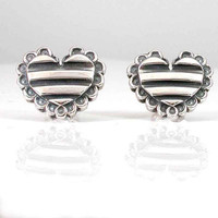 Striped Silver Heart Post Earrings with by SwankMetalsmithing
