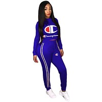 Champion tide brand female embroidery letters running fitness sportswear two-piece Blue