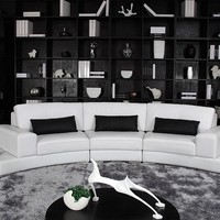 Modern Curvy Leather Sectional - Opulentitems.com