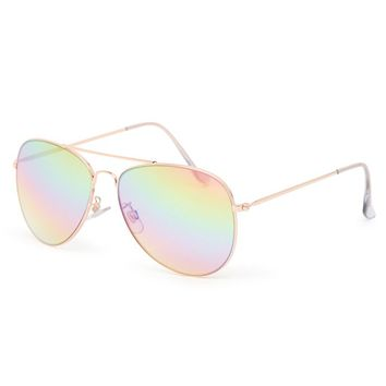 With Love From CA Clear Rainbow Mirror Aviator Sunglasses - Womens Sunglasses - Gold - One