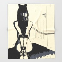 Erotic BDSM art, sexy kitten slave girl, kneeling tied with her leash, nude woman in submissive pose Throw Blanket by Peter Reiss
