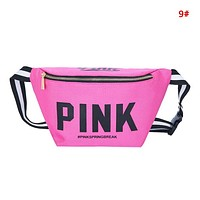 Victoria Pink Fashion New Letter Print Shopping Leisure Shoulder Bag Waist Pack Bag 9#
