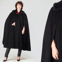 70s Black Wool Cape Coat / Faux Fur Collar Long Cape Coat / Austrian Plain Minimalist One Size Small Medium Large Coat