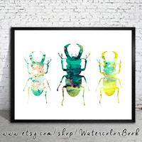 Beetles Watercolor Print,Fine Art Print,Children's Wall Art,animal watercolor, watercolor painting, animal art, Insect art, beetles art,