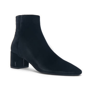 Saint Laurent Velvet Loulou Pin Ankle Boots in Black | FWRD