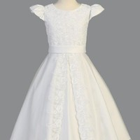Satin First Communion Dress W/Lace Applique