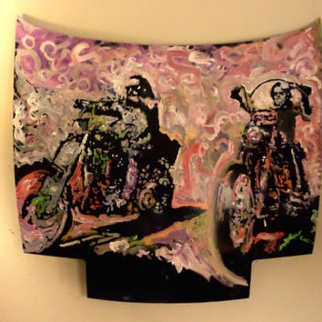 Car Hood Painting! Gifts for Him - Easy Rider Motorcycle Road Trip Harley Davidson - Fathers Day Unique Wall Art Urban Decor Office Man Cave