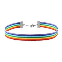 1Pc Simple Rainbow Choker Necklace Gay Pride LGBT Ribbon Clavicle Chain Jewelry Nylon Choker Necklace Nice Gift for Women