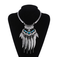 Maxi Collier Necklace Collares Choker Necklace Fashion Silver Jewelry Leaf Tassel Vintage Statement Necklaces & Pendants