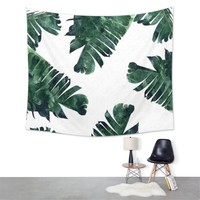 150X130cm Banana Leaf Tapestry Wall Hanging Dorm Cover Bedspread Beach Towel Yoga Mat Blanket Home Room Wall Decoration