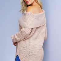 Coordinate Off Shoulder Knit Sweater - Taupe