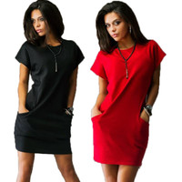 New fashion women casual mini dress Black and Red solid color short sleeve o-neck dresses two side pockets Shirt dress Plus Size