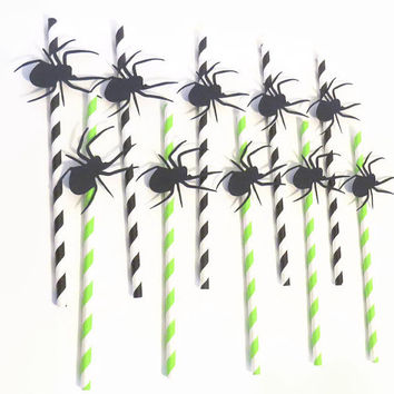 Spider straws, Halloween party decorations, Ready within a week, creepy black spiders, green and black, spooky