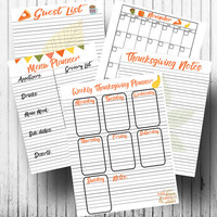Thanksgiving planner kit - Printable planner pages - Letter size 8.5 x 11 - Holiday planner kit - Thanksgiving holiday planner - Printable