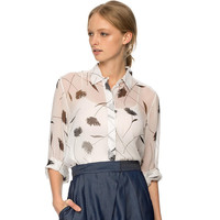 Cream Long Sleeve Dandelion Print Top with Collar