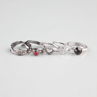 Full Tilt 5 Piece Stackable Rings Silver  In Sizes