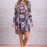Fall's Floral Dress, Navy