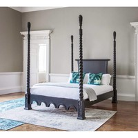 Sassy Boo Majestic Four Poster Black Bed   Luxury Bed