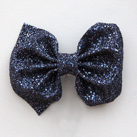 Large Glitter Hair Bow - Petrol by Crown & Glory