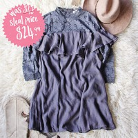 Rosalyn Lace Dress in Gray