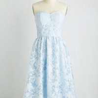 Long Strapless Fit & Flare Shadow Box Office Dress by Chi Chi London from ModCloth