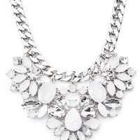 Clustered Faux Gem Statement Necklace