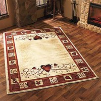 """Area Rug Hearts Berries Country Rustic Primitive Cabin Farm Burgundy 63"""" x 90"""""""