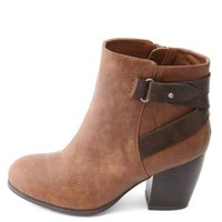 Color Block Belted Chunky Heel Ankle Boots - Cognac