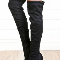 Anne Michelle Oscar-08 Black Suede Thigh High Boots-MakeMeChic.com