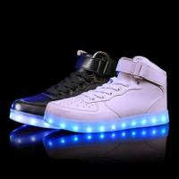 Fashion Online Led Luminous Sneakers Girls Boys Casual Children Shoes High Glowing With Recharge Lights Up Simulation Sole For Kids Neon Basket