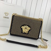 hcxx 1209 Versace Medusa Logo Rivet organ bag Handbag Black Gold
