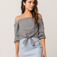IVY & MAIN Gingham Tie Front Womens Off The Shoulder Top