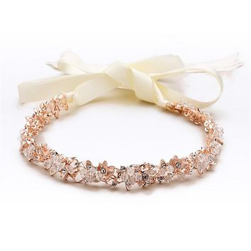 SALE  Handmade Couture Slender Rose Gold Bridal Headband with Hand-wired Crystal Clusters and Ivory Ribbons