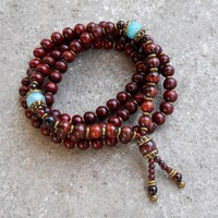 Prosperity and Compassion, Rosewood and Amazonite 108 Bead Mala Necklace