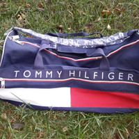 Vtg 90s Large Tommy Hilfiger Duffle Bag Color Block Flag Spell out Retro Duffel Sport Travel Gym DEADSTOCK