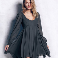 Vintage Cold Shoulder Backless A-Line Dress