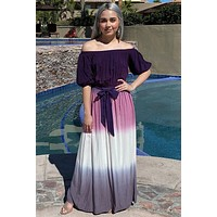 All She Wants Purple Ombre Off The Shoulder Maxi Dress
