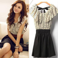 Summer Dress Short Sleeve Chiffon Dots Polka Waist Mini Dress