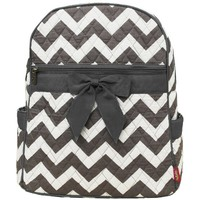Gray & White Chevron Print Quilted Backpack