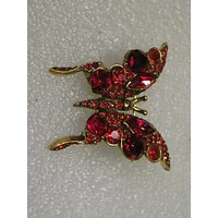 """Vintage Gold Tone Red Rhinestone Butterfly Brooch signed Pell, 1.75"""", Mid-Century"""